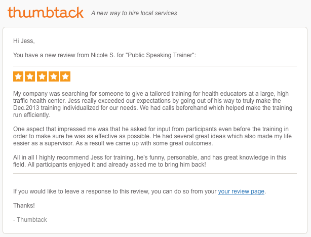 Recent Review placed on a service web site