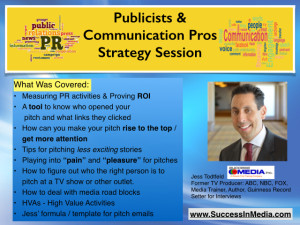 Public Relations / Publicists and Communications Pros Strategy Session (Click Play)